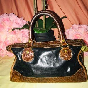 Vintage Brahmin Brown Black Leather Bag